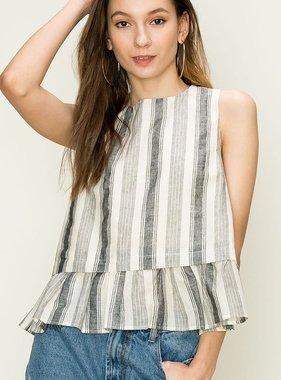 Grey Striped Peplum Top