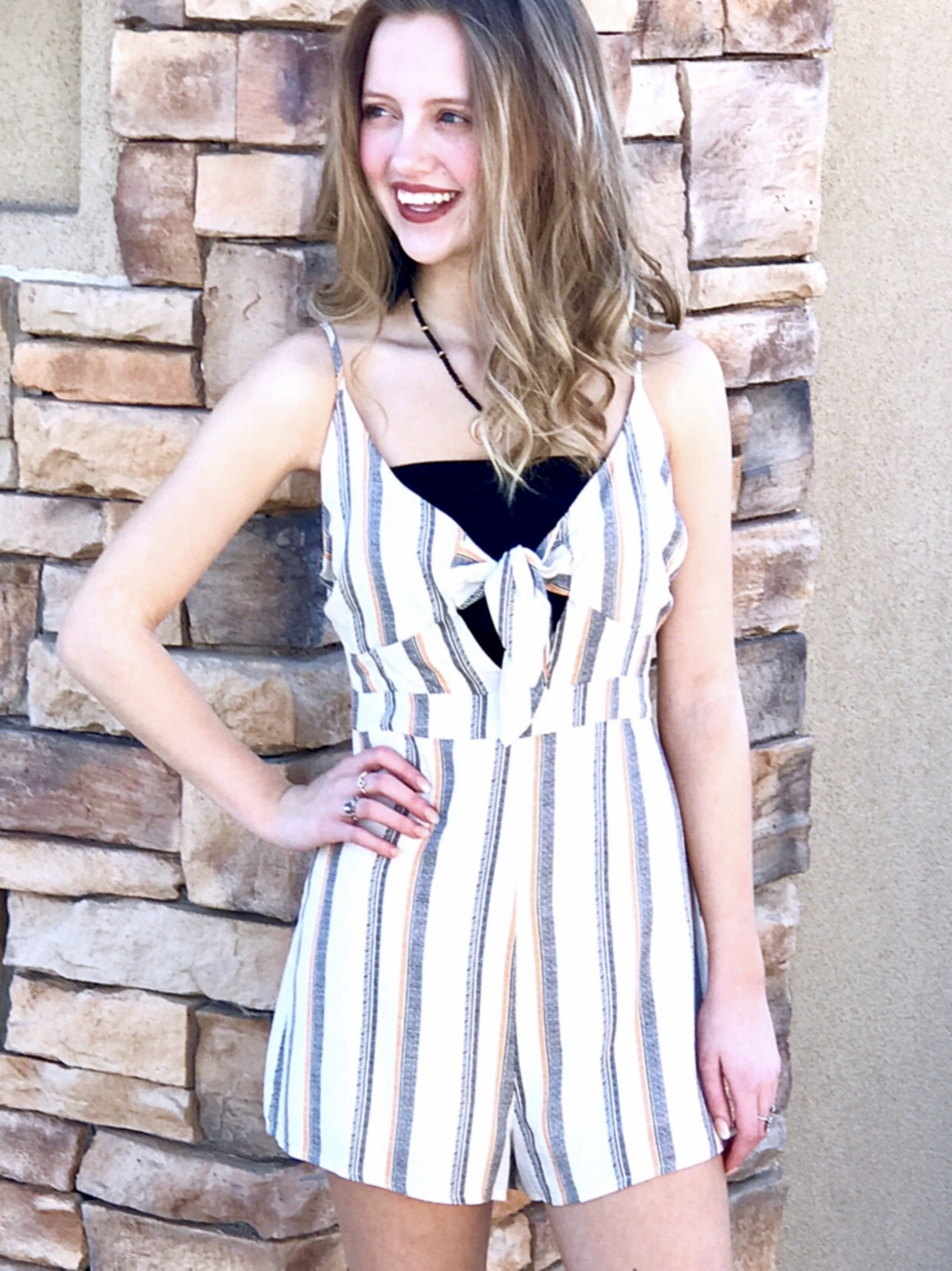 Natural and Orange Striped Front Tie Romper