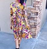 Honey Mix Floral/Striped Bell Sleeve Dress