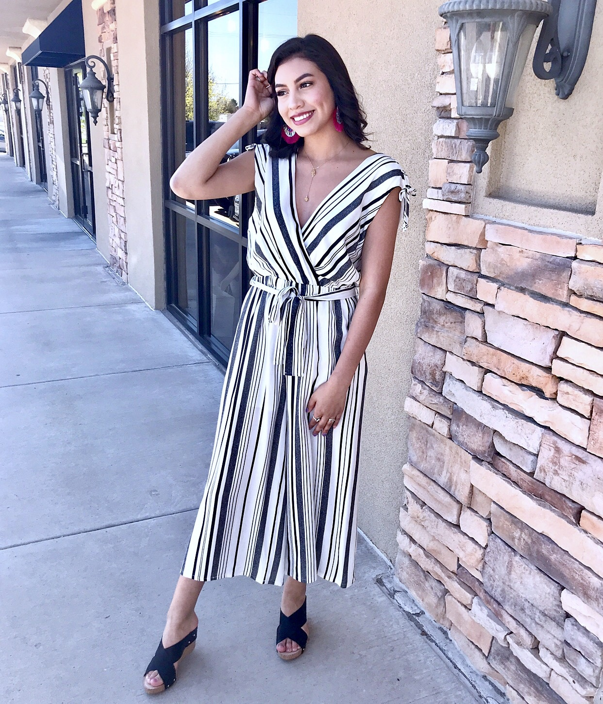 Black and White Multi Striped Tie Front Jumpsuit