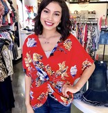 Red Mix Front Twist Dolman Top