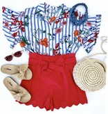 Red Spring Tied Waist Shorts