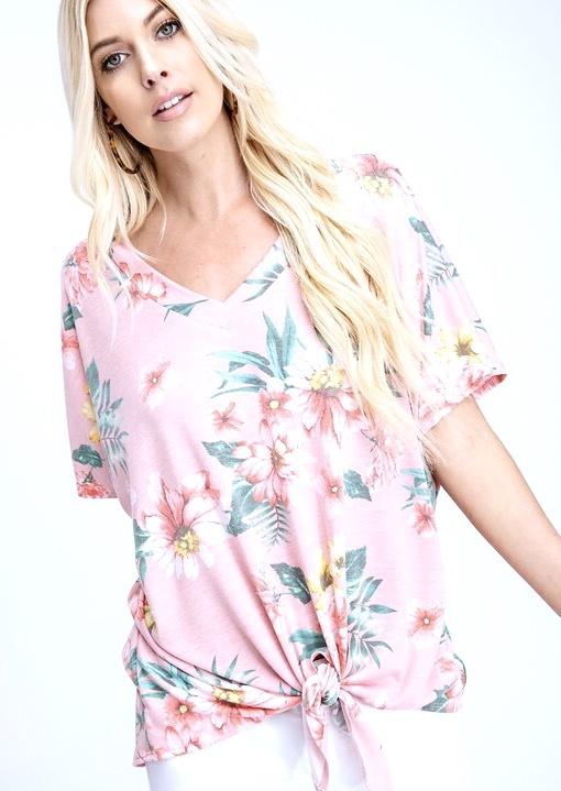 Floral V-Neck Tie Top Pink Blush