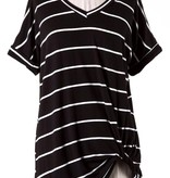 Black SS Striped Knotted Top