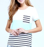 Mint SS Color Block Striped Knotted Top