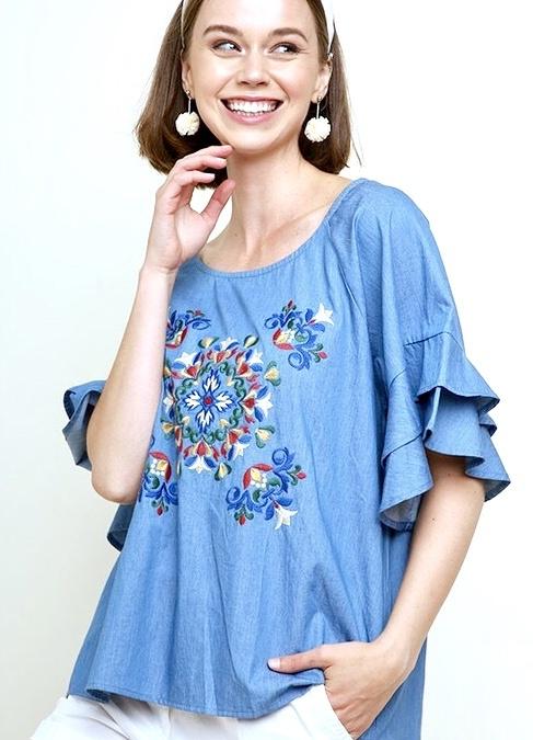 Denim Ruffle Sleeve Embroidered Top