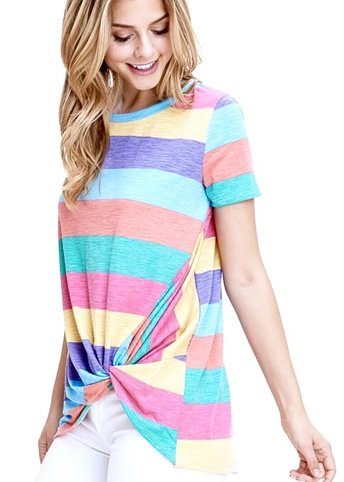 Bright Striped Knotted Top