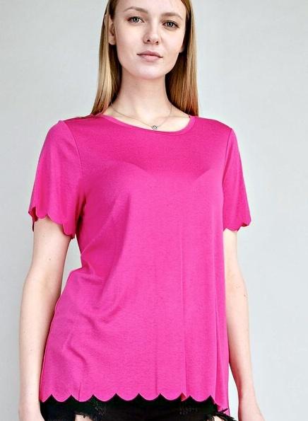 Pink Scalloped Hem Knit Top