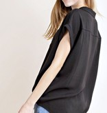 Black Button Up Collared Top