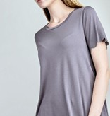 Grey Scalloped Hem Knit Top
