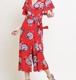 Red Floral V-Neck Wrap Jumpsuit