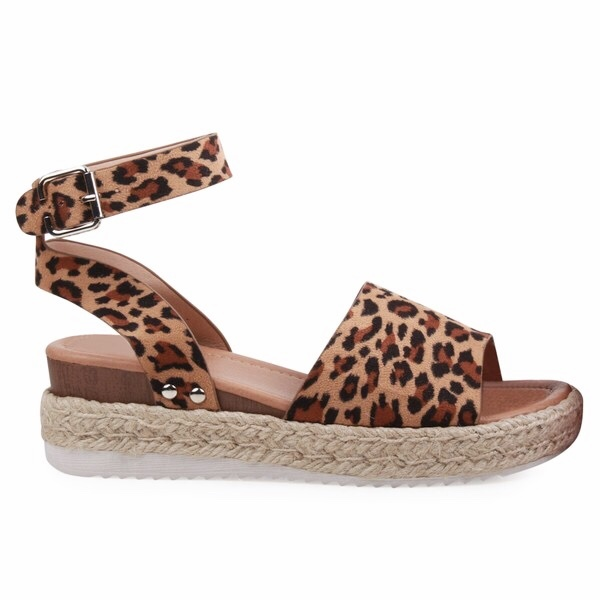 Cheetah Platform Flats with Ankle Strap