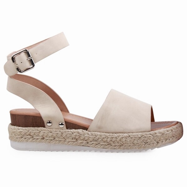 e35bd326794 Oatmeal Platform Flats with Ankle Strap - LilliesBoutique