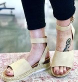 Oatmeal Platform Flats with Ankle Strap