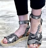 Beige Snake Print Platform Flats with Ankle Strap