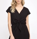 Black Drop Shoulder Woven Romper