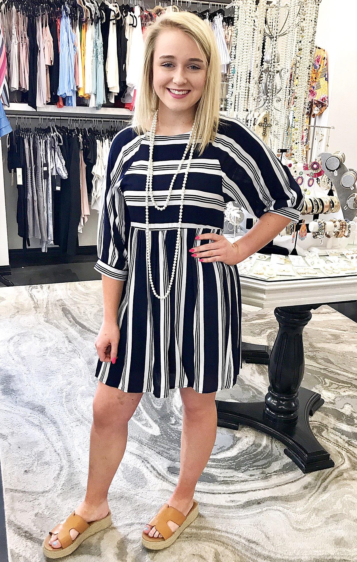 Navy 3/4 Sleeve Striped Babydoll Dress