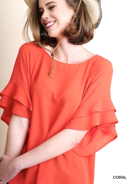 Coral Layered Ruffle Sleeve Top