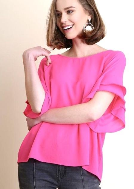 Pink Short Bell Sleeve Top