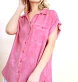 Pink Pocket Button Up With Rolled Sleeves