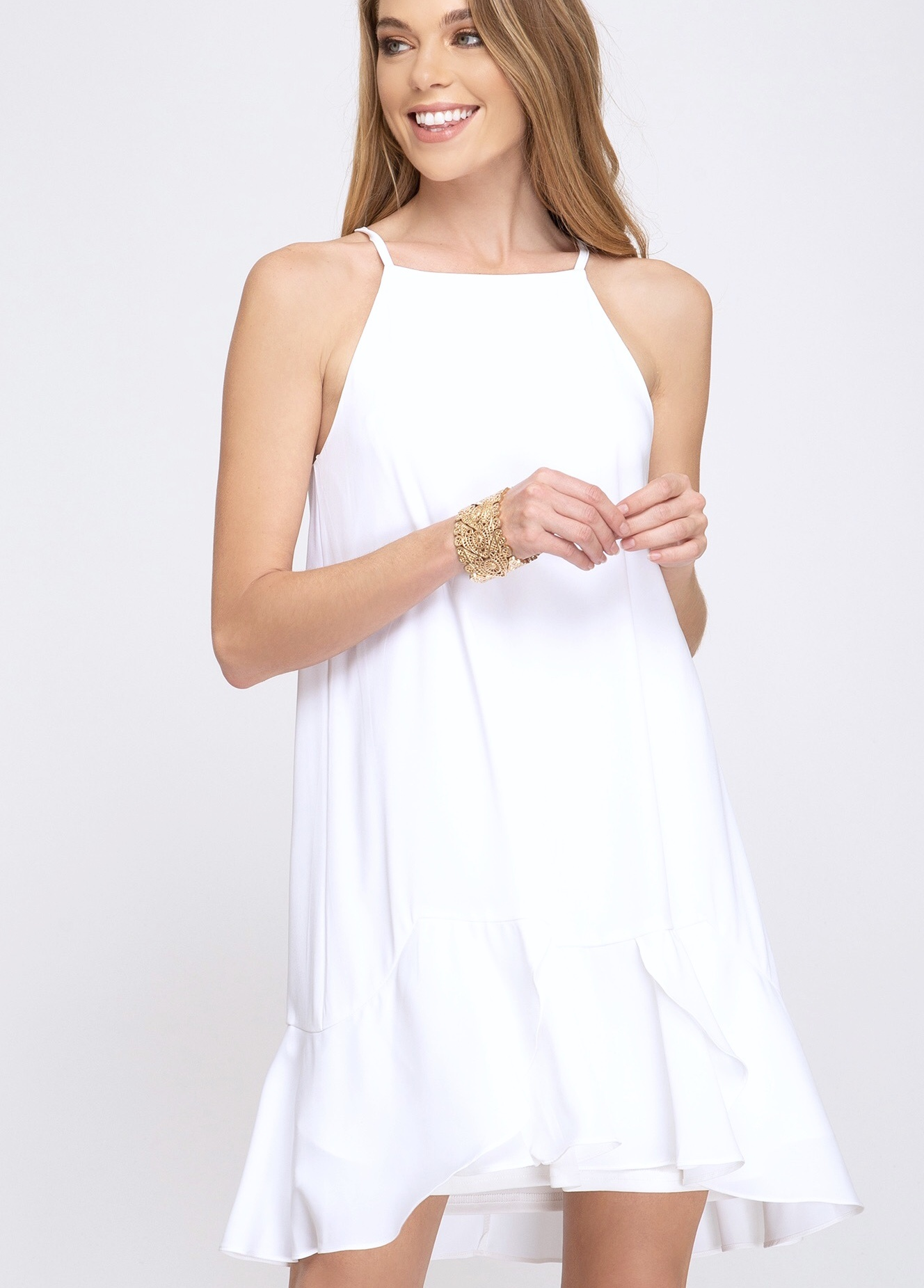 Off White Spaghetti Strap Dress with Flounce Wrap Hem