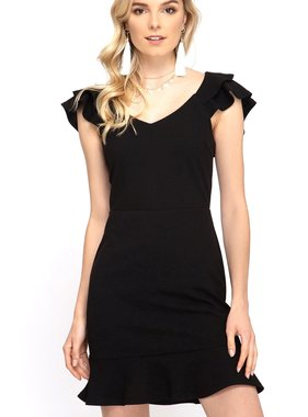 Black Double Layered Ruffle Sleeve Dress