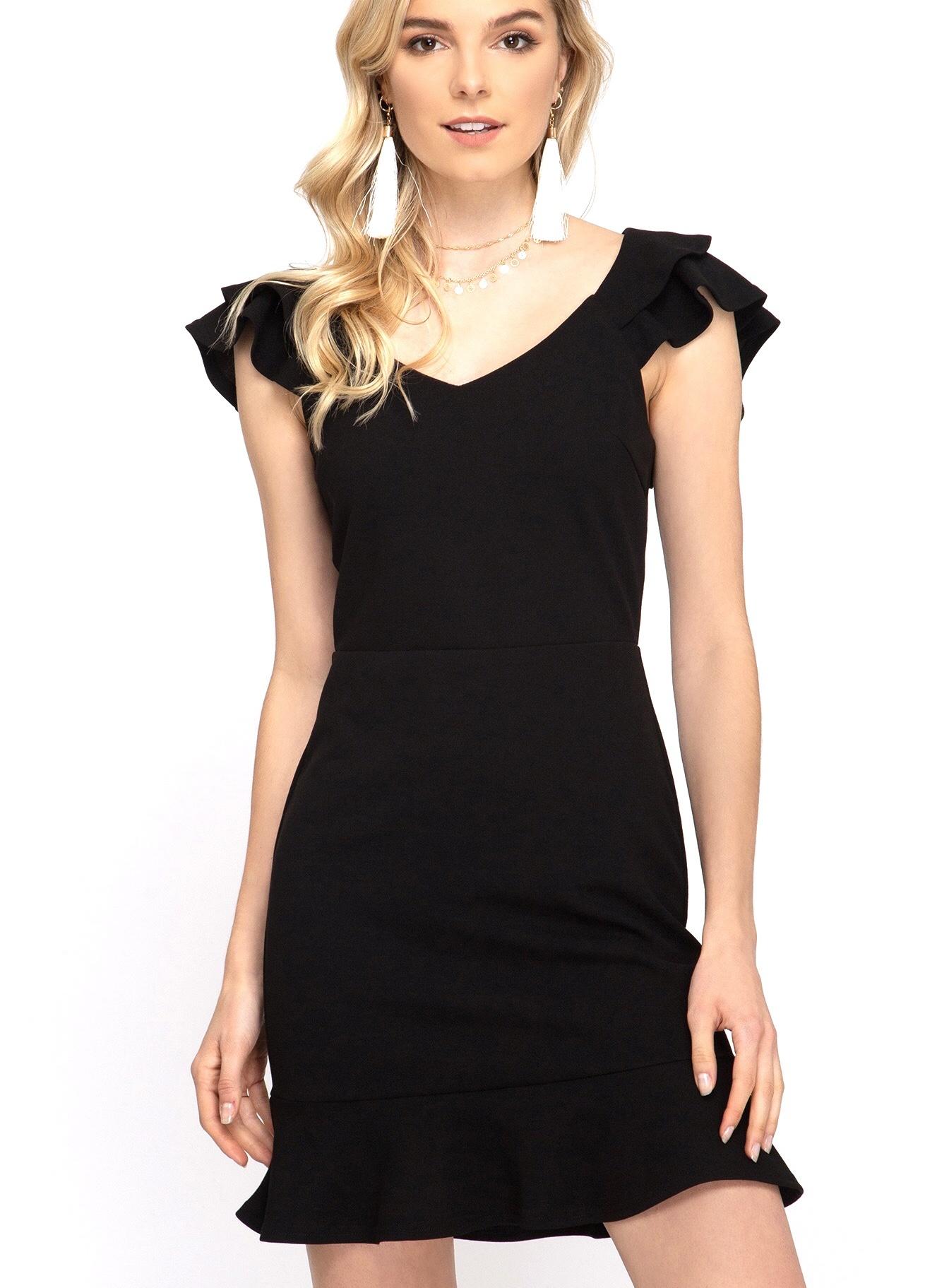 Black Double Layered Ruffle Sleeve Dress
