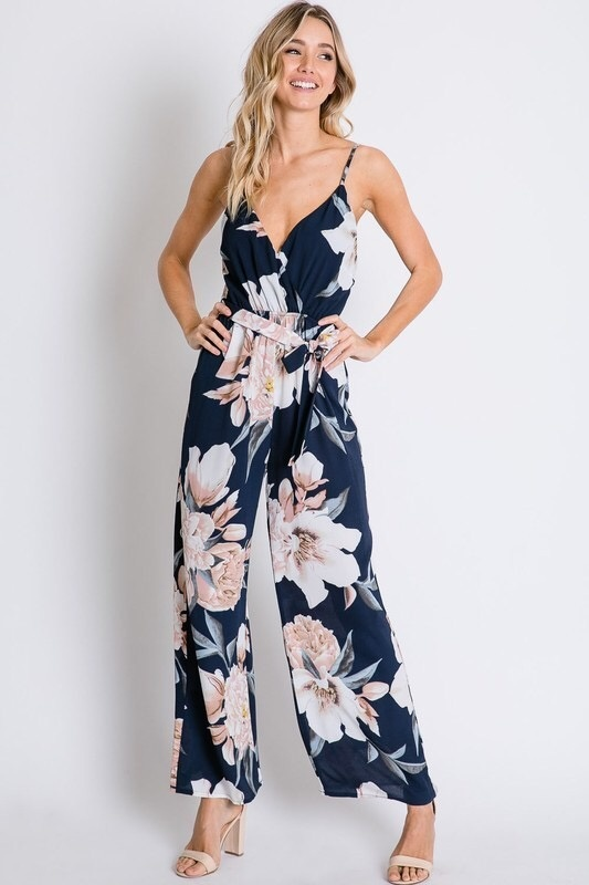 Navy/Cream Floral Back Tie Jumpsuit