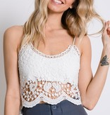 White Lace Spaghetti Strap Crop Top