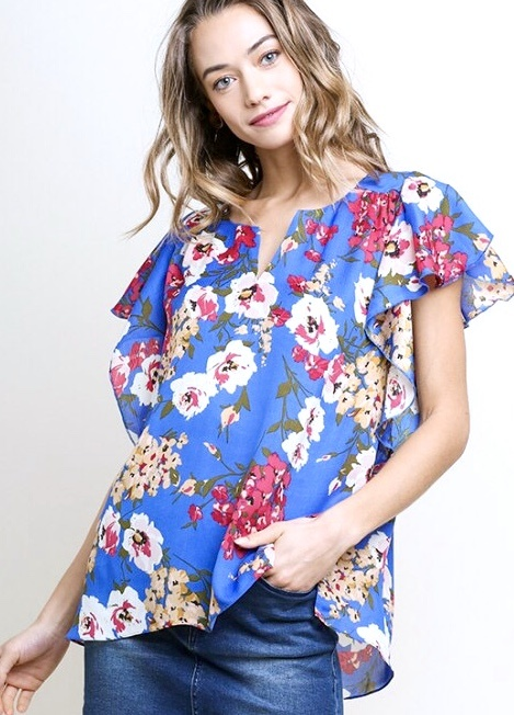 Blue Mix Floral Print Ruffle Sleeve Top
