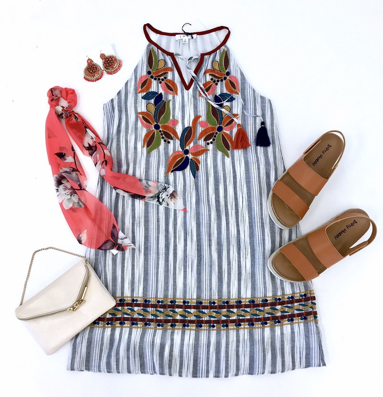 Cream Striped Embroidered Dress