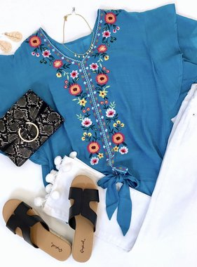 Turquoise Floral Embroidered Ruffle Sleeve Tie Top