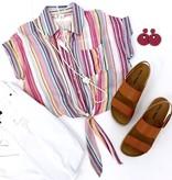 Pink Multi Striped Button Down Tie Top