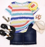 Mint/Coral Multi Stripe Top