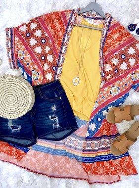 Floral Scarf Print Kimono Orange