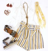 Yellow/Grey Striped Tie Front Shorts
