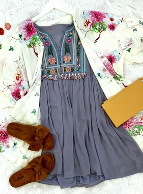 Cool Grey Floral Embroidered Sleeveless Dress