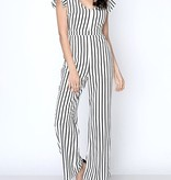 Black/White Striped Slight Off Shoulder Jumpsuit