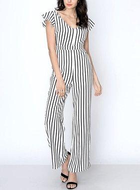 Black/White Striped Slight Off Shoulder Jumpsuit