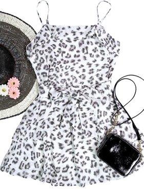 Ivory/Grey Leopard Chiffon Dress