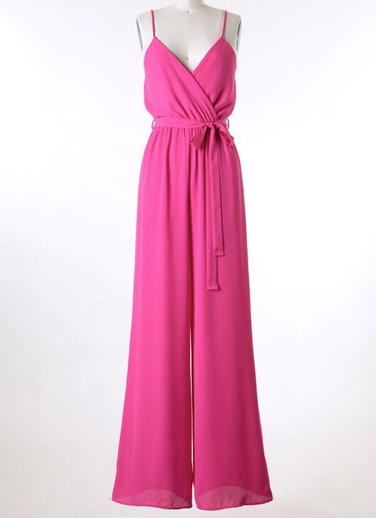 Hot Pink Front Cross Over Jumpsuit