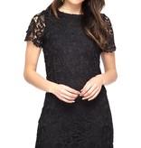 Black SS Crochet Lace Shift Dress