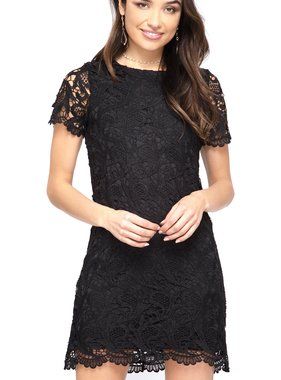 Black SS Crochet Lace Shift Dress