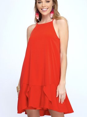 Red Flounce Hem Dress