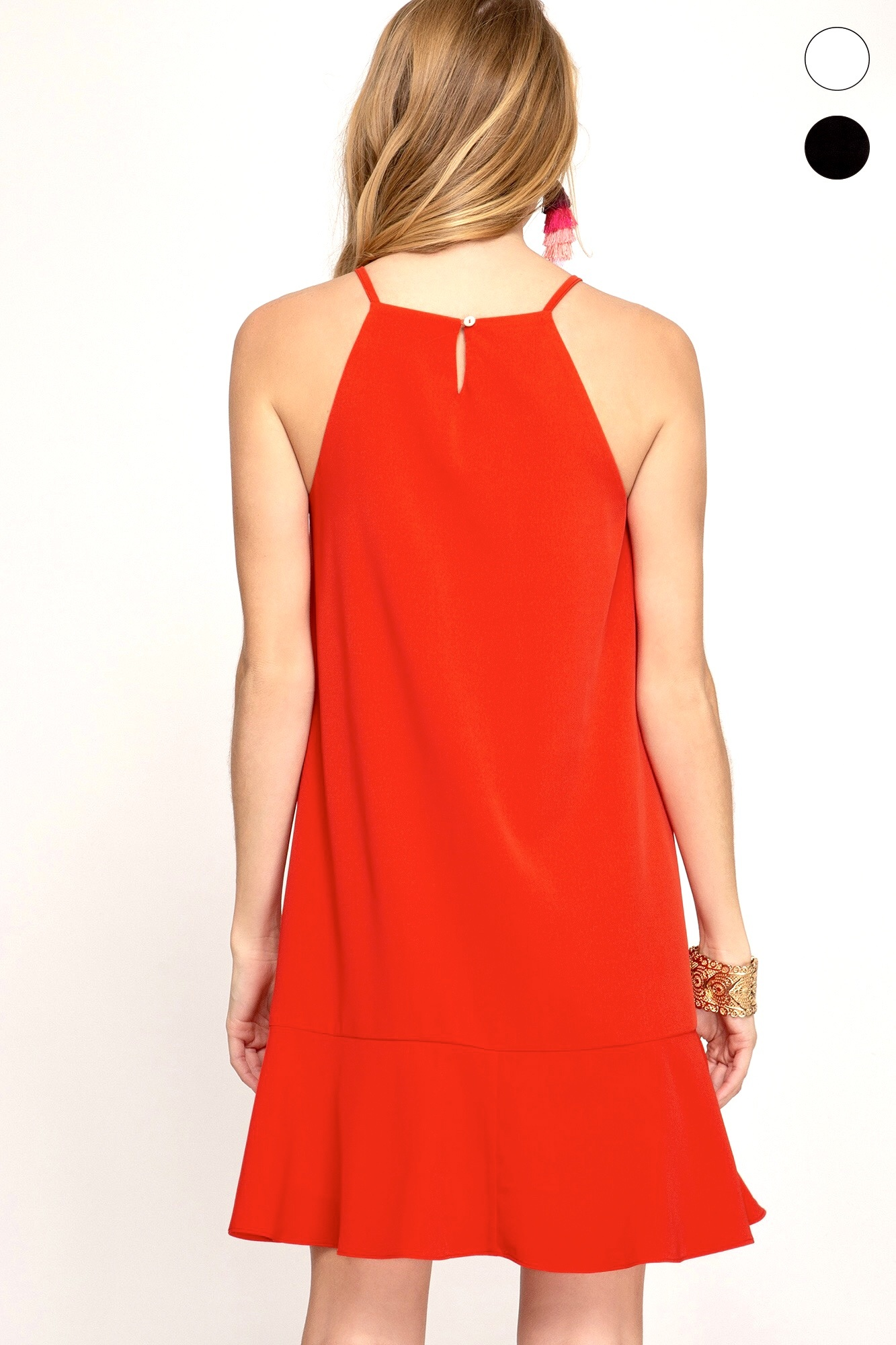 Red Flounce Hem Dress