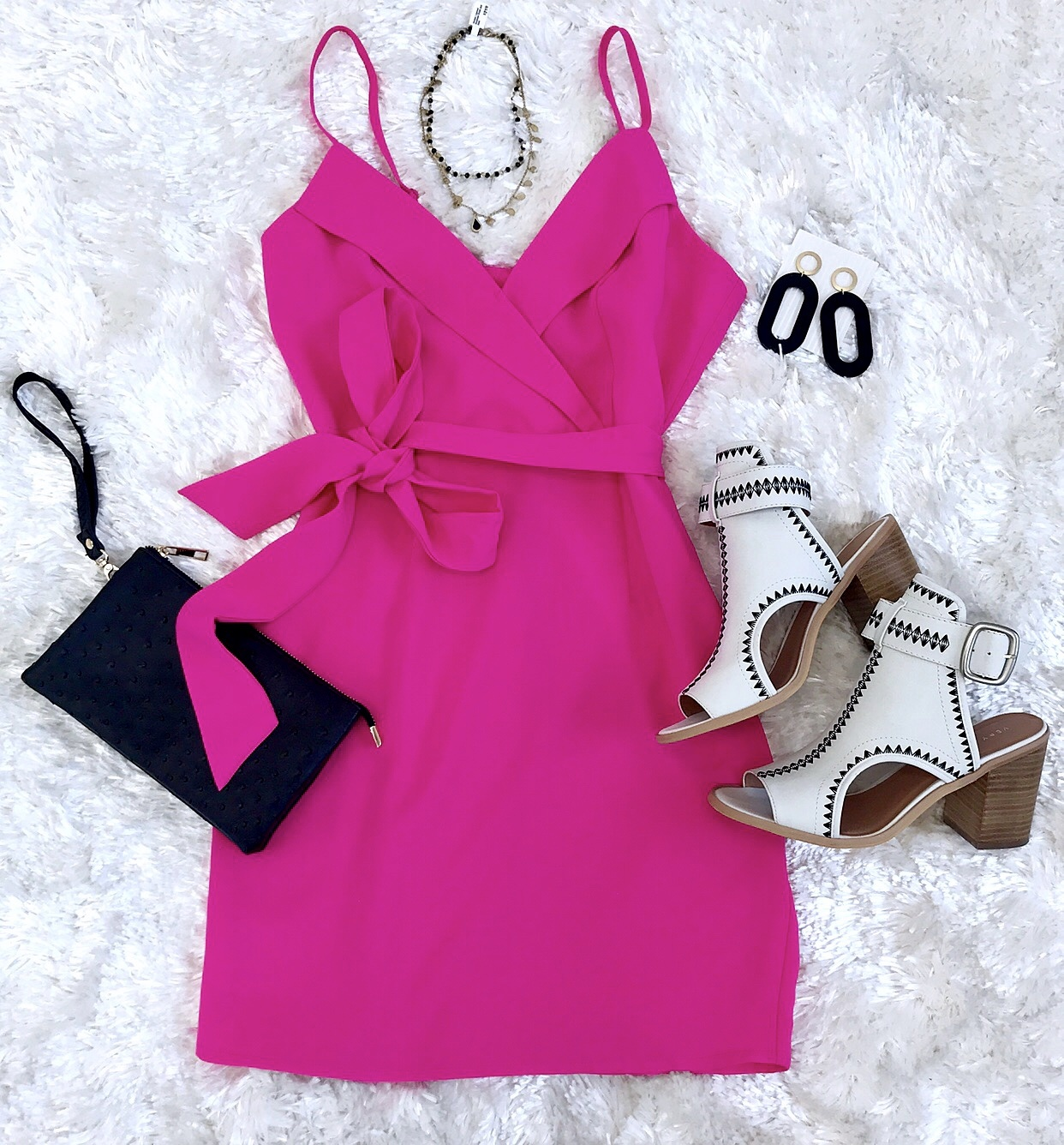 Hot Pink Crossover Cut Dress