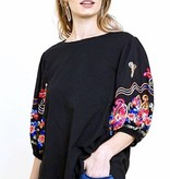 Black Top With Floral Puff Sleeve