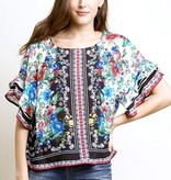 Black Scarf Print Short Bell Sleeve Top