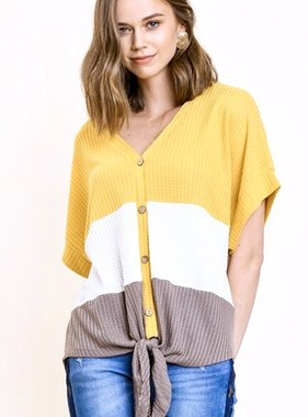 Yellow/Cocoa Mix Color Block Waffle Knit Top