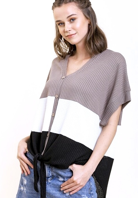 Latte Mix Waffle Knit Color Block Top